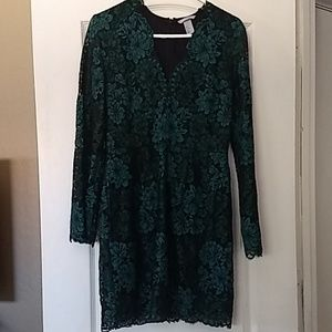 H&M Green lacey long sleeve dress